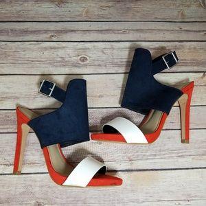 Zara 38 Orange Blue White Heels Pumps Shoes